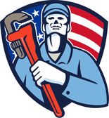 Plumber Holding Wrench USA Flag Shield Retro
