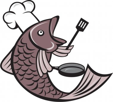 Fish Cook Holding Spatula Frying Pan