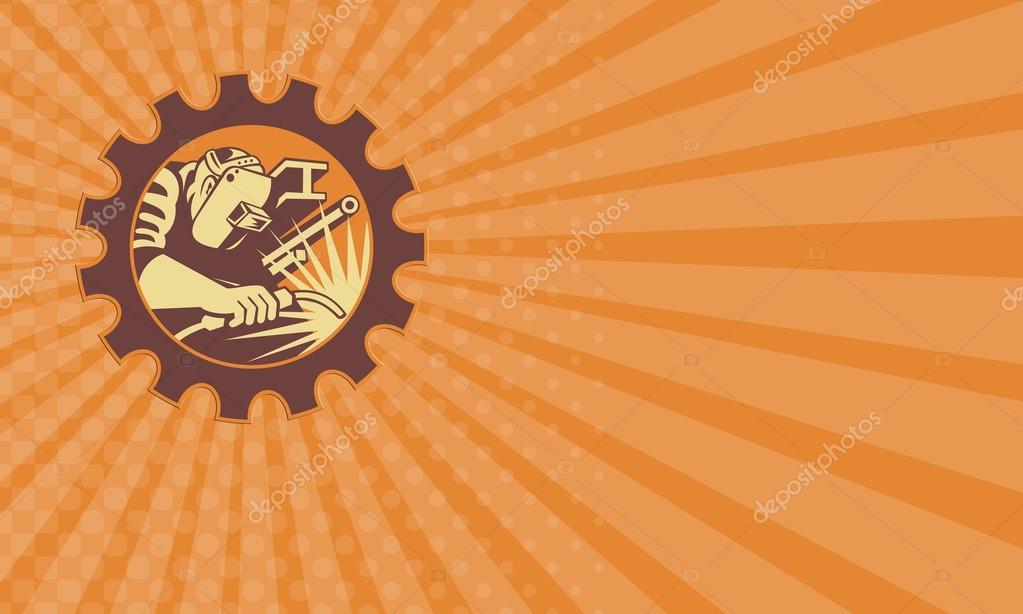 Carte De Visite Montrant Lillustration Dune Torche Soudage Du Travailleur Manufacturier Soudeur Avec Tuyau Poutre En I Et La Barre Placee A