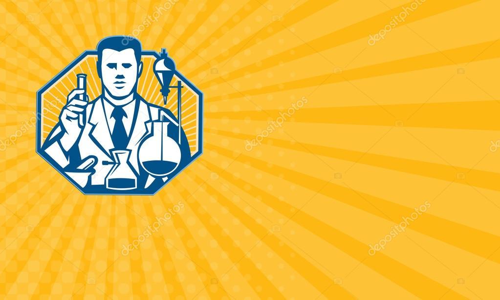 Carte De Visite Montrant Lillustration Du Chimiste Chercheur Laboratoire Scientifique Tenant Le Flacon Prouvette Fait Dans Un Style Rtro Image