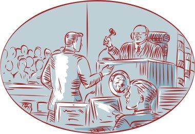 Judge Defendant Courtroom Etching