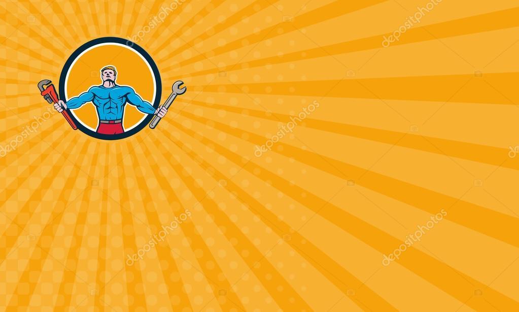 Business card Superhero Handyman Spanner Wrench Circle Cartoon ...