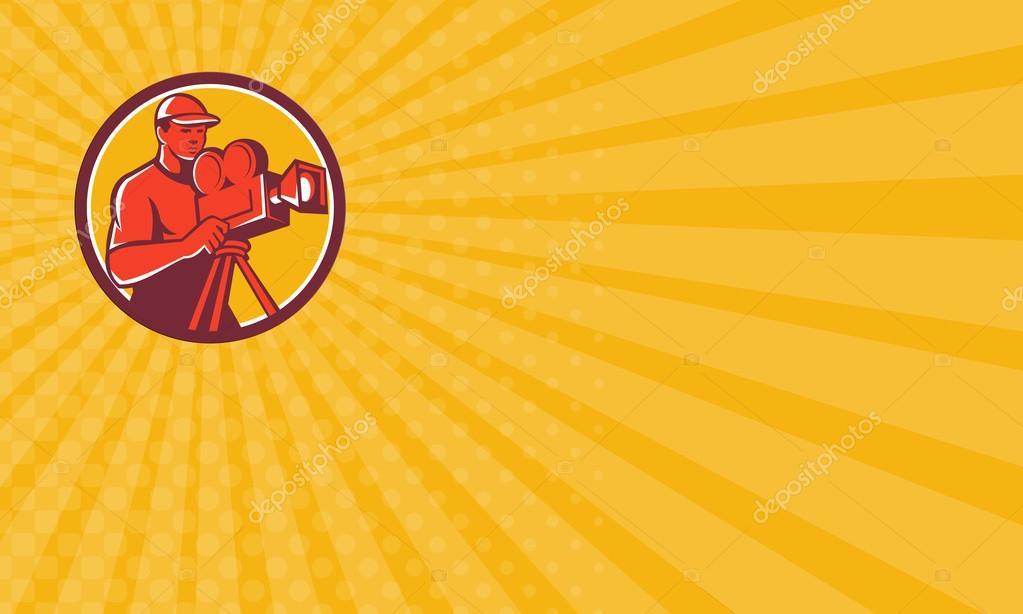 Carte De Visite Montrant Lillustration Dun Film Camraman Directeur Avec Camra Vintage Situ Lintrieur Du Cercle Sur Fond Isol Fait Dans Un