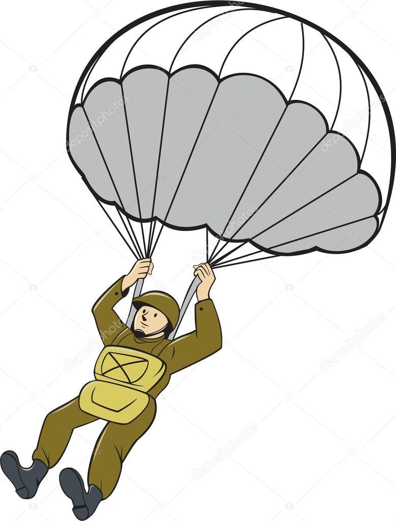 Am ricaine parachutiste parachute cartoon image - Dessin parachutiste ...