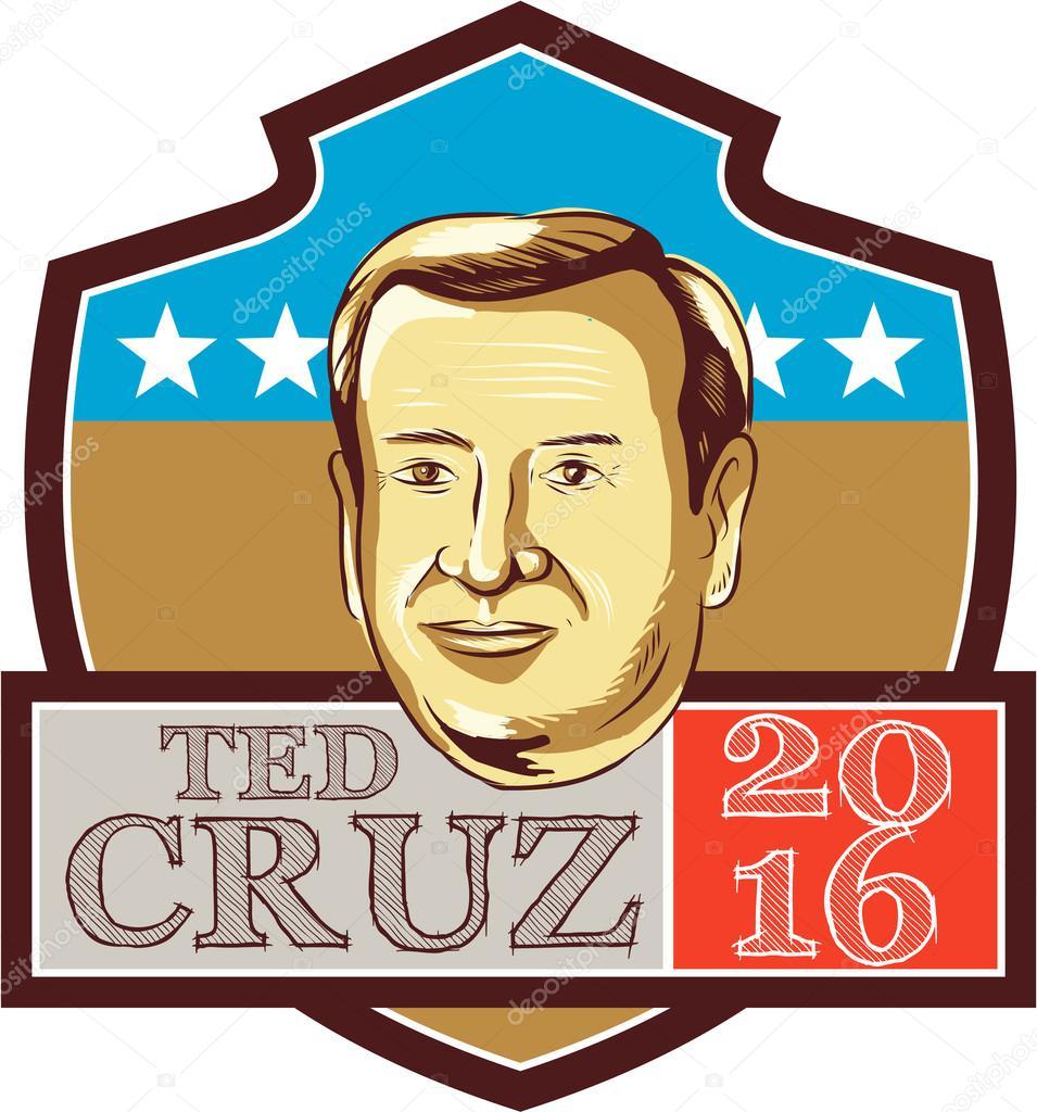 ted cruz president 2016 republican shield stock vector