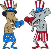 Democrat Donkey Boxer and Republican Elephant