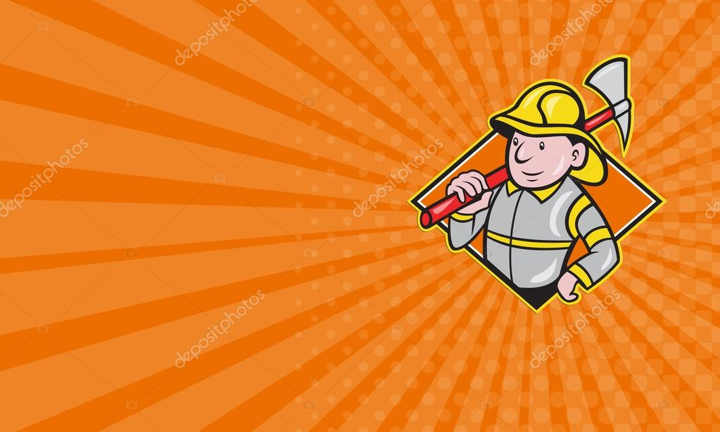 Card Showing Illustration Of A Fireman Fire Fighter Emergency Worker With Ax Done In Cartoon Style Set Inside Diamond Shape Image De Patrimonio