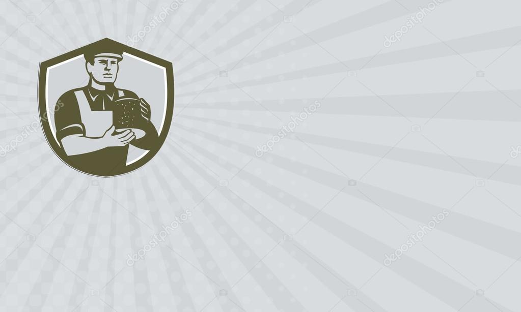 Carte De Visite Montrant Lillustration Dun Cheesecutter Fromager Avec Commandes Hat Holding Bloc Fromage Face Situe A Linterieur La Crete