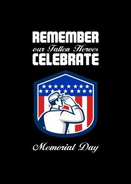 Memorial Day Greeting Card American Soldier Saluting Flag