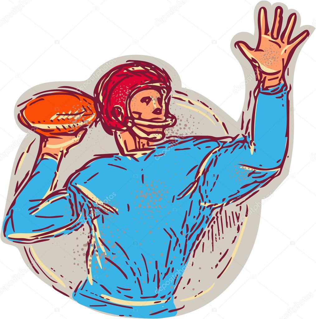 Football am ricain quarterback lancer balle dessin image vectorielle patrimonio 92604780 - Dessin football americain ...