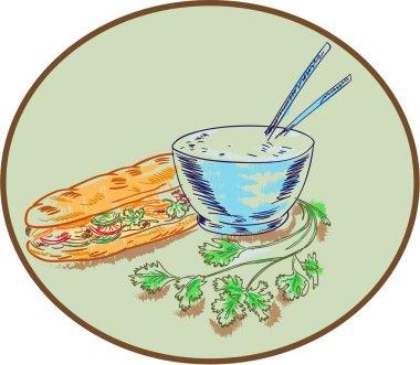 Bannh Mi Sandwich and Rice Bowl Drawing