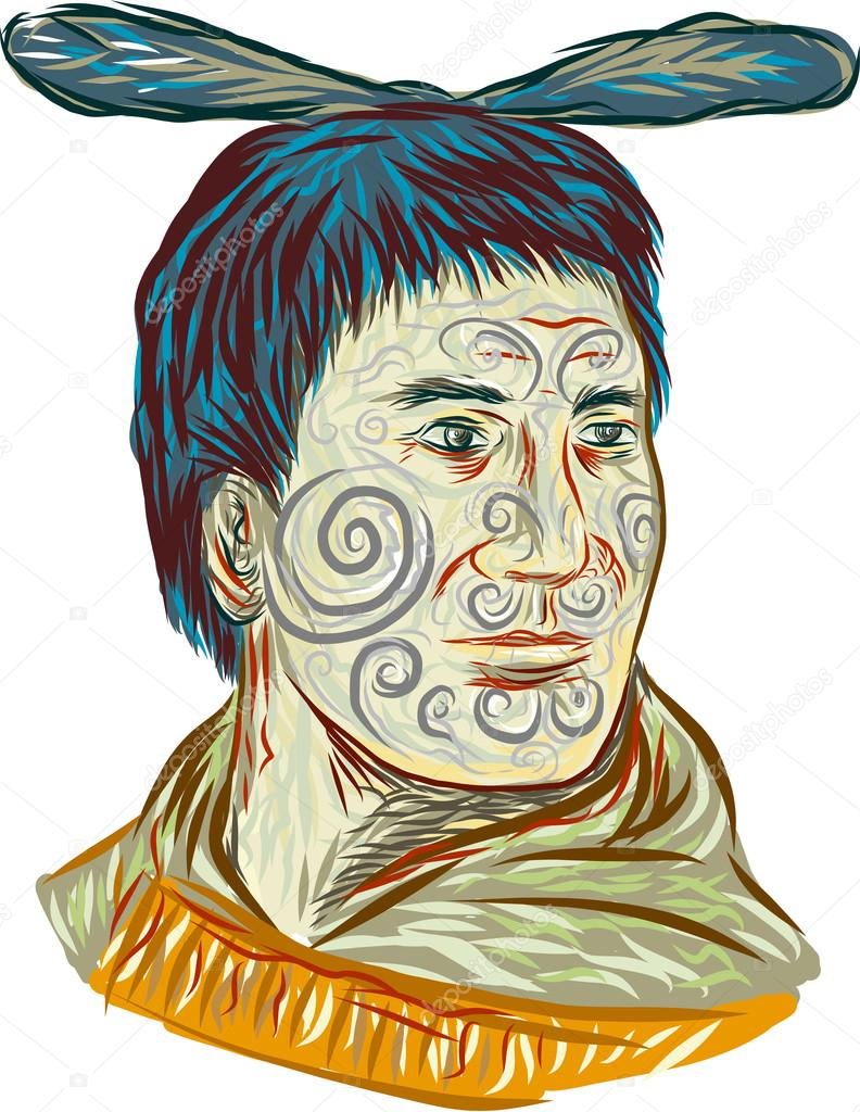 Terrific Maori Krieger Reference Of Chieftain Warrior Head Drawing — Stock Vector