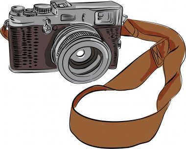 Vintage Camera Drawing Isolated
