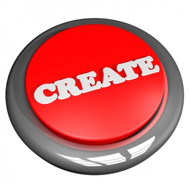 Create button, isolated over white, 3d render stock vector