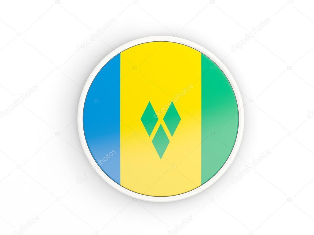 Flagge von St. Vincent und die Grenadinen. Rundes Symbol mit Rahmen ...
