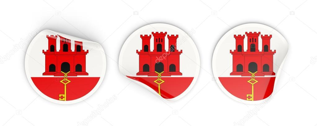 Bandiera Di Gibilterra Etichette Rotonde Foto Stock Mishchenko