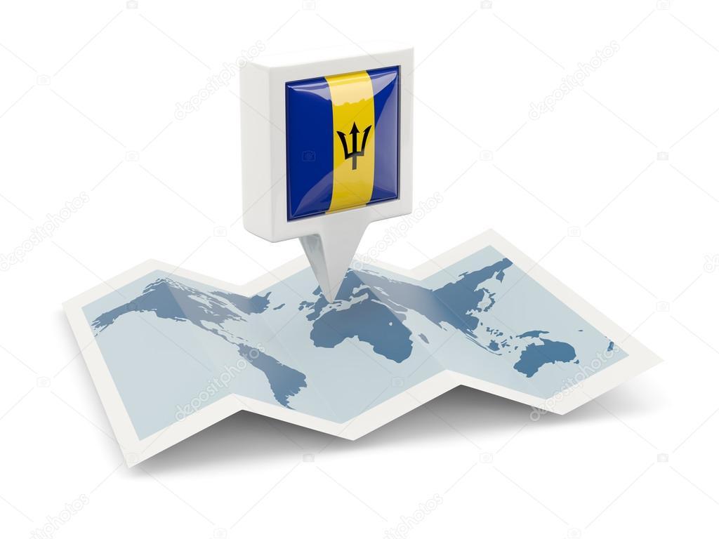 Фотообои Квадратный значок с флагом Барбадоса на карте