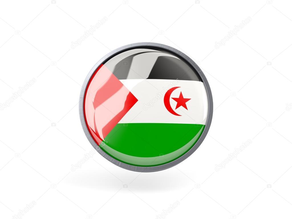 Icono de ronda con la bandera de Sáhara Occidental — Fotos de Stock ...