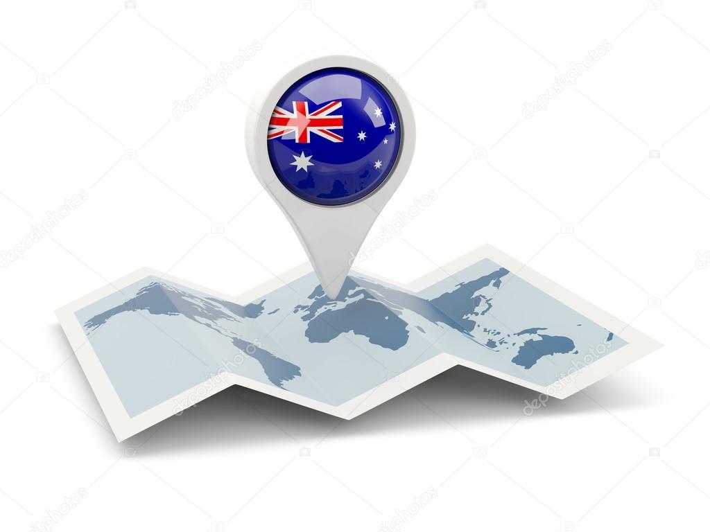 Runde Anstecknadel mit Flagge Australiens — Stockfoto © Mishchenko ...