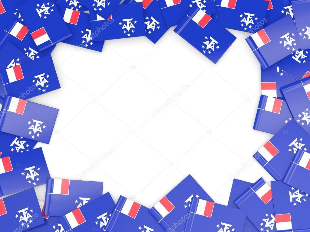 Marco con la bandera de Francia territorios sur — Fotos de Stock ...