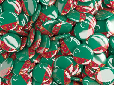 Background with round pins with flag of turkmenistan