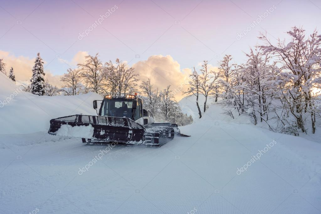 Ski slopes maintenance on the mountains