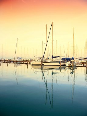 Sailing boats in the marina, lake Balaton