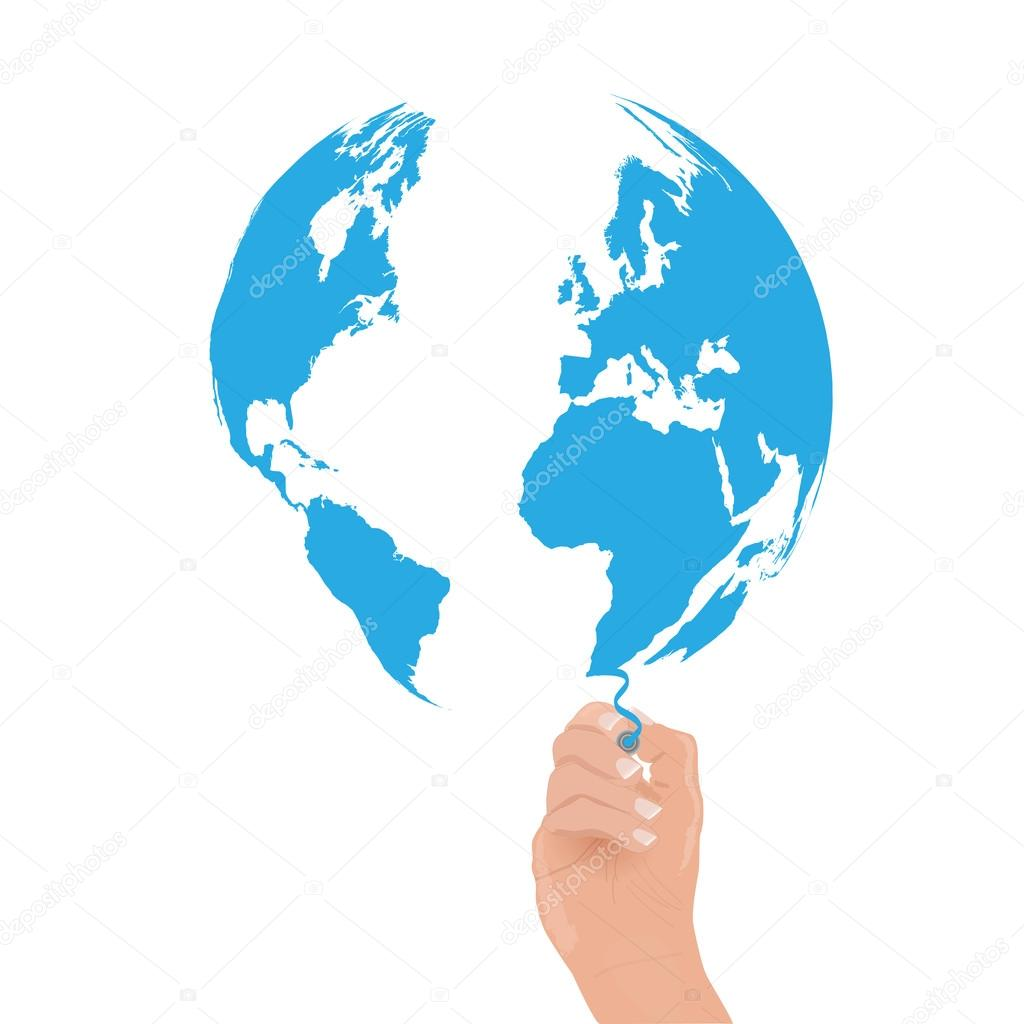 Earth draw stock vector nmarques74 51852141 image of a hand drawing the world map vector by nmarques74 gumiabroncs Image collections