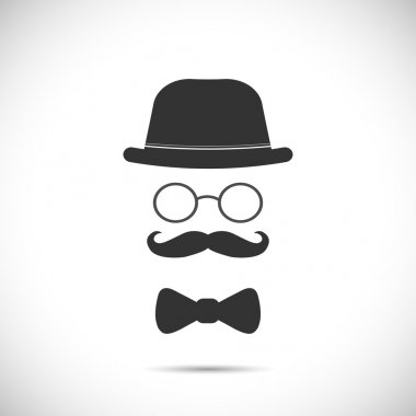 Illustration of a hat, glasses, mustache and bow tie design isolated on a white background. stock vector