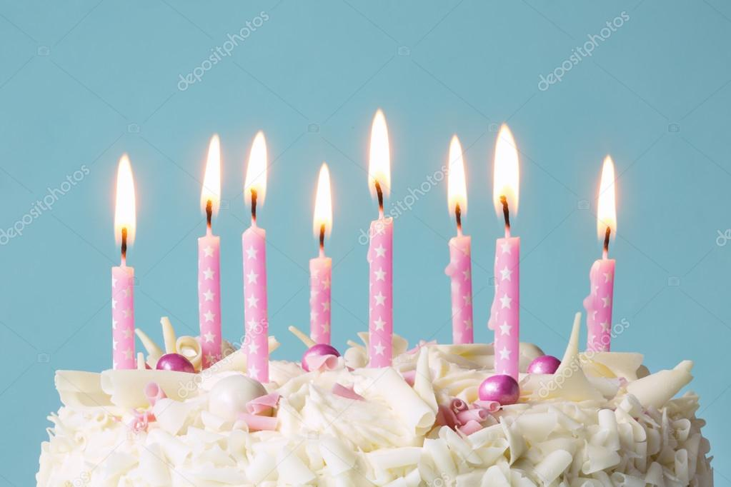 Pink birthday cake candles