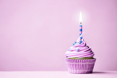 Purple birthday cupcake with copy space to side stock vector