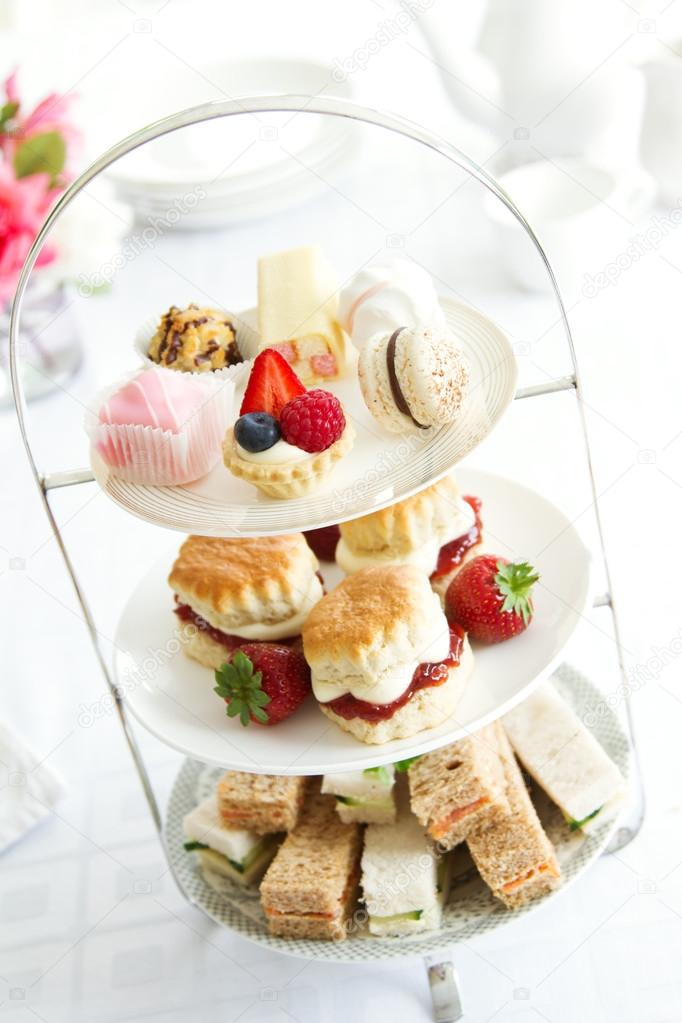 Afternoon tea on a cake stand