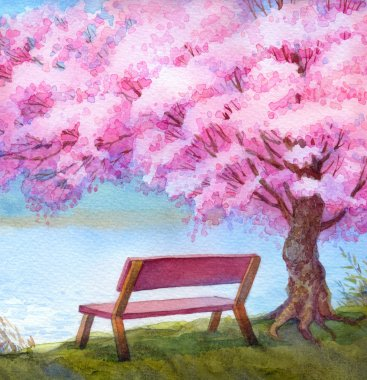 Watercolor landscape. Bench by river under flowering peach tree