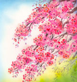 Photo Flowering branches. Watercolour background