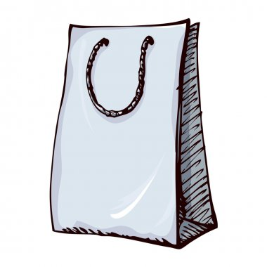 Paper bag with handles. Vector drawing