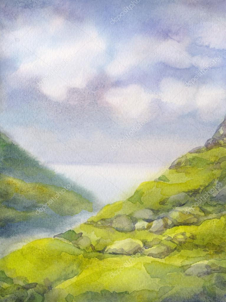 Watercolor landscape. Cloudy summer day in mountains near lake