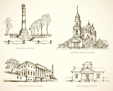 Poltava famous historical monuments. Vector sketch
