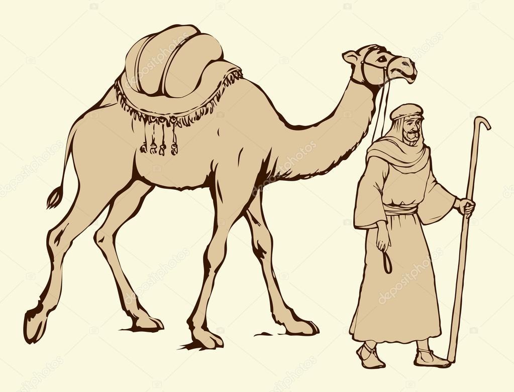 Arabe avec chameaux charg dessin vectoriel image - Dessin de chameau ...