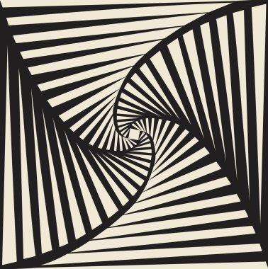 Tileable art quadrangle salient shape optical illusion op volumetric trickery form tracery template. Black and white tile creative recurring concave zig zag whirlpool torsion fan blades grid backdrop clip art vector
