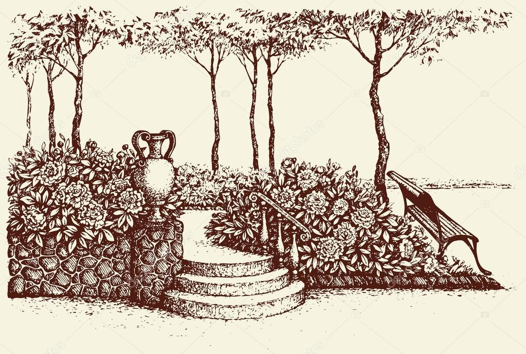 Vector landscape. Park bench under tree