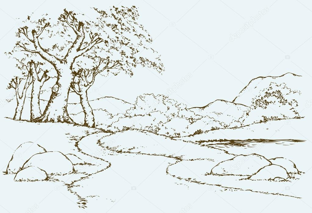 Mountain landscape with oak trees. Vector drawing