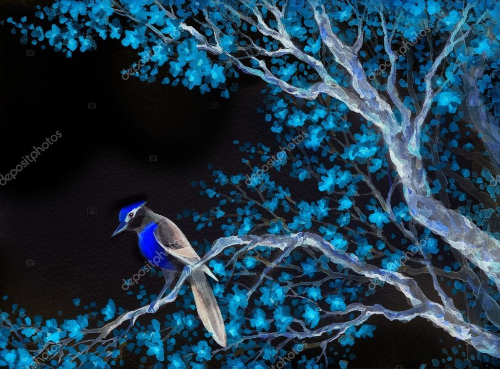 Beautiful bird on flowering branch. Watercolor painting