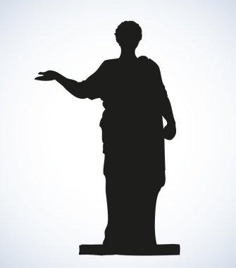 Ancient Roman statue. Vector drawing