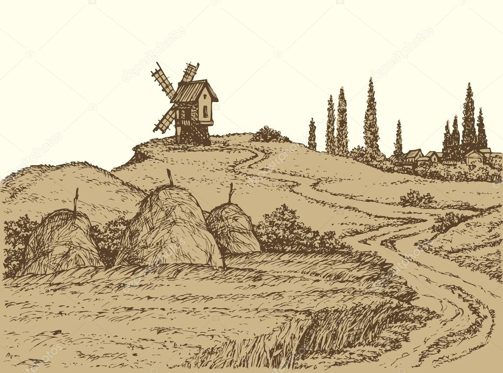 Vector landscape. Old windmill on a hill