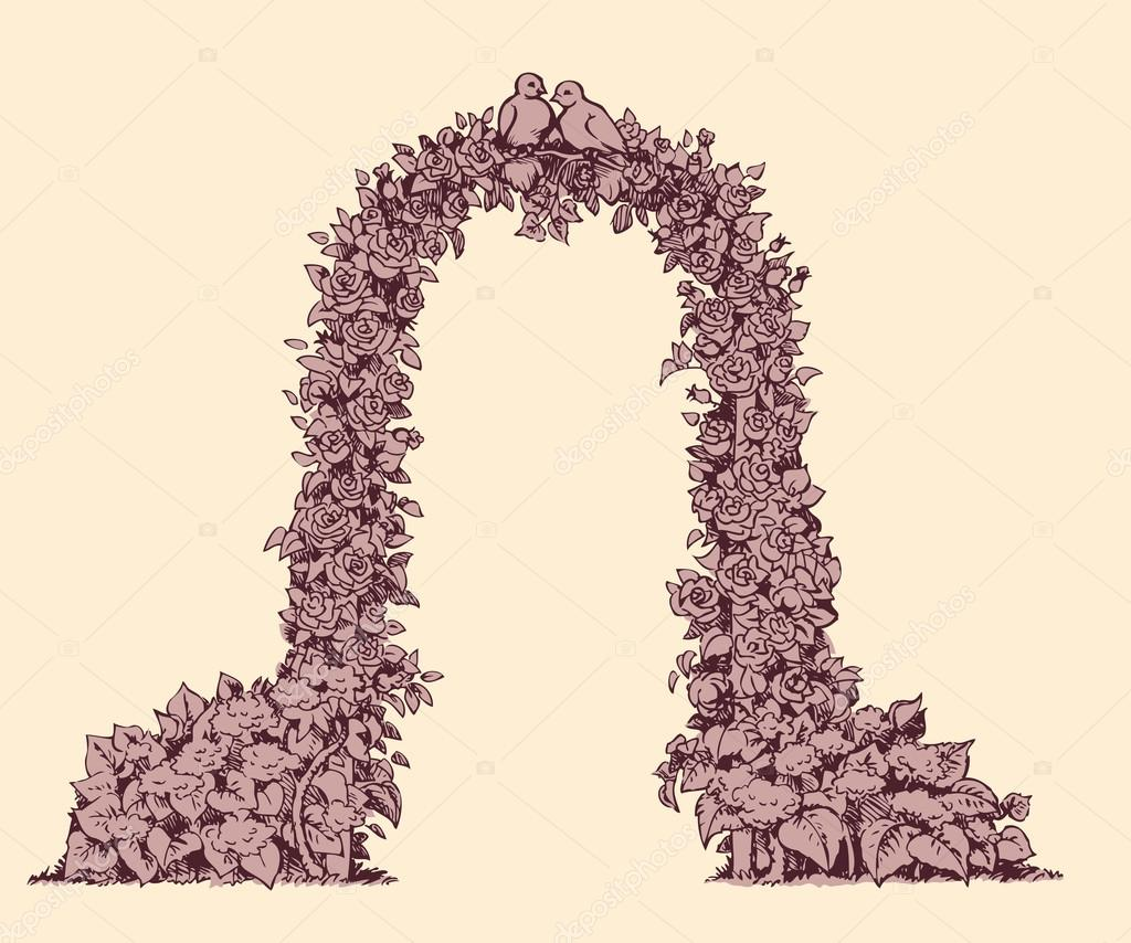 Arch of flowers. Vector sketch
