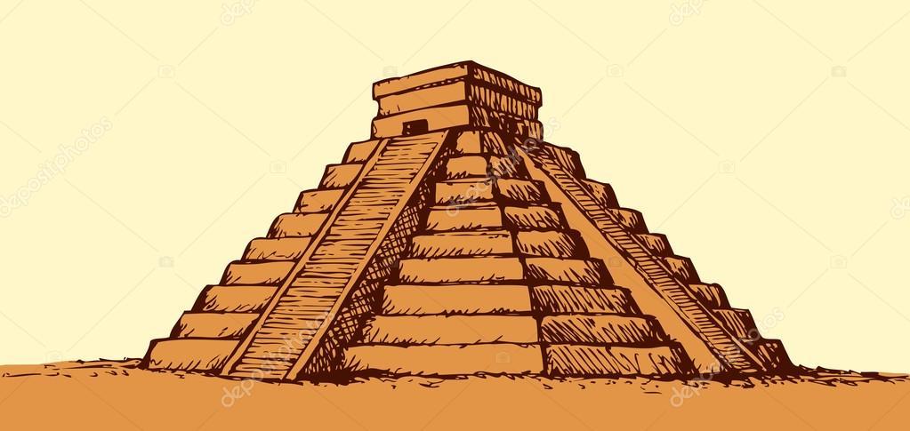Vector Piramide Azteca Dibujo Templo De Los Aztecas Dibujo