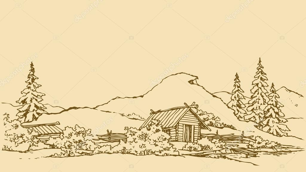 Vector drawing. Ancient rural landscape