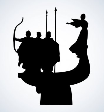 Monument to the founders of Kiev. Vector sketch