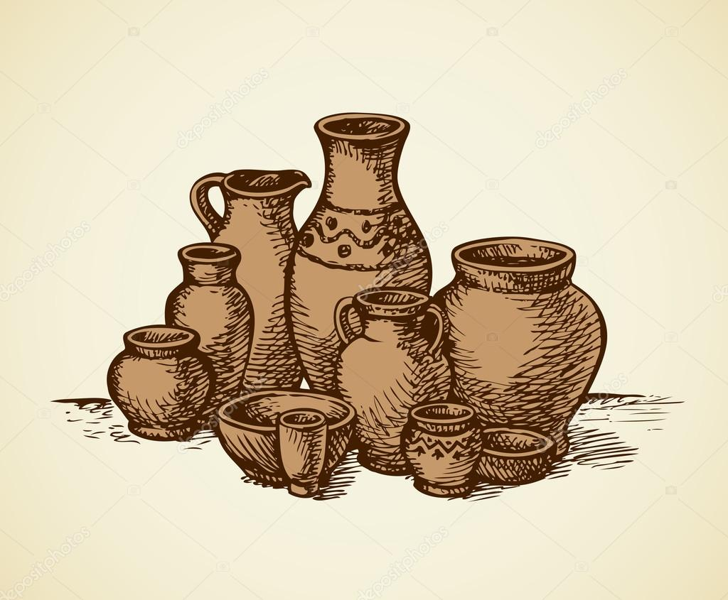 Clay pots of different sizes and shapes vector sketch stock clay pots of different sizes and shapes vector sketch stock vector reviewsmspy