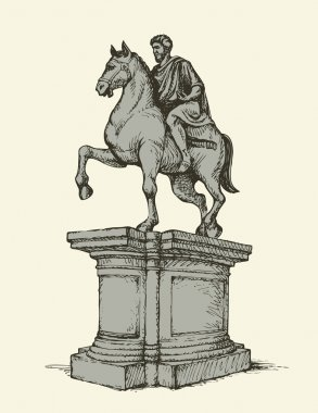 Statue of of Marcus Aurelius. Vector drawing